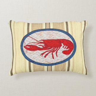 Rustic Lobster Vintage Red White Blue Nautical Decorative Cushion