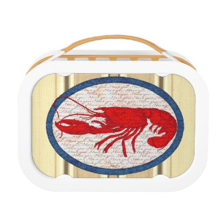 Rustic Lobster Vintage Red White Blue Nautical Lunch Boxes