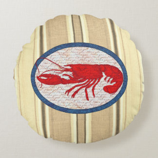 Rustic Lobster Vintage Red White Blue Nautical Round Cushion