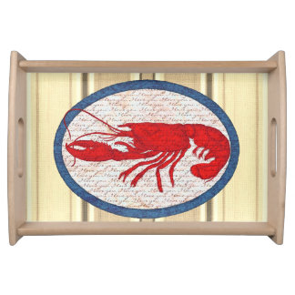 Rustic Lobster Vintage Red White Blue Nautical Serving Tray