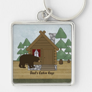 Rustic Lodge Cabin Keys with Personalized Name Silver-Colored Square Key Ring