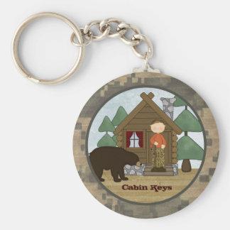 Rustic Lodge Camo Cabin Keys with Bear Key Ring