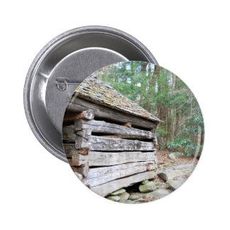 Rustic Log Cabin Pinback Button