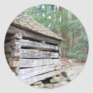 Rustic Log Cabin Classic Round Sticker
