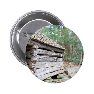 Rustic Log Cabin Pinback Button