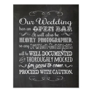 Rustic Look OPEN BAR, Humorous Wedding Decor Poster