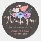 Rustic Love Bird Flower Thank You Wedding Sticker
