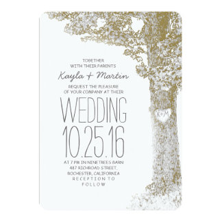 Rustic love heart tree wedding invitations