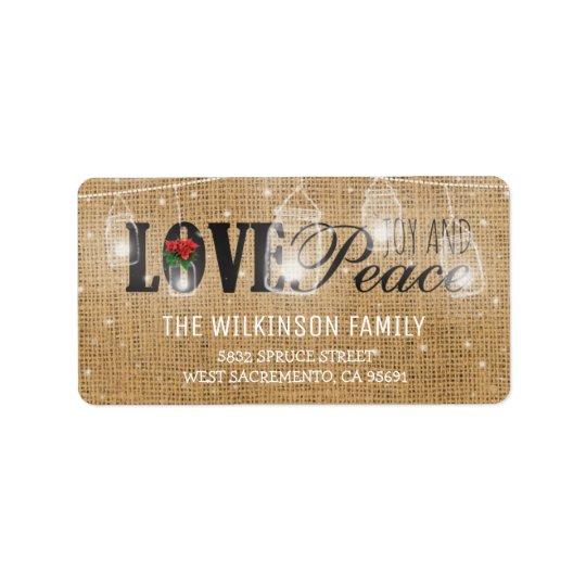 Rustic Love, Joy & Peace Christmas Holidays Address Label