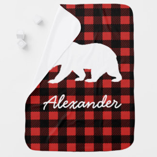 Rustic Lumberjack Plaid & Bear with Baby's Name Baby Blanket