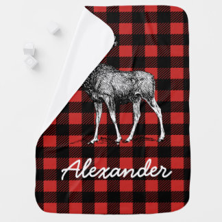 Rustic Lumberjack Plaid & Moose with Baby's Name Baby Blanket