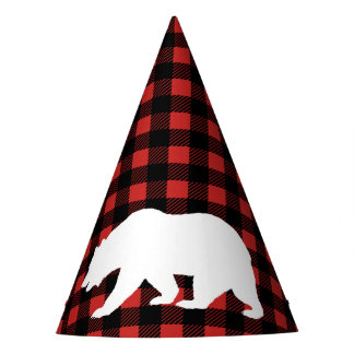 Rustic Lumberjack Plaid & White Bear Party Hat