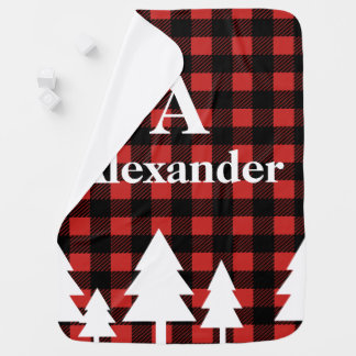 Rustic Lumberjack Plaid & White Trees Baby's Name Baby Blanket