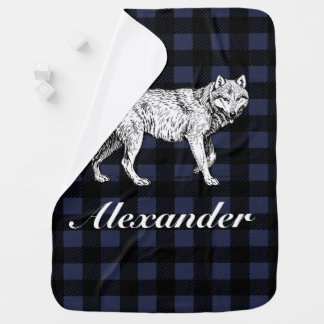 Rustic Lumberjack Plaid & Wolf with Baby's Name Baby Blanket