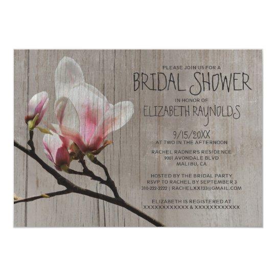Rustic Magnolia Branch Bridal Shower Invitations