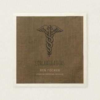 Rustic Male Nurse Graduation Party | Caduceus Paper Napkins