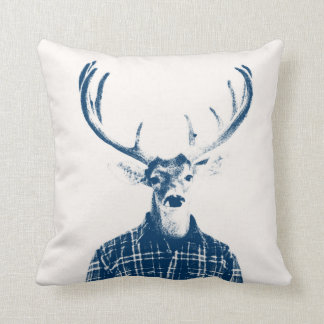 Rustic Man Buck with Antlers in Blue and Cream Cushion