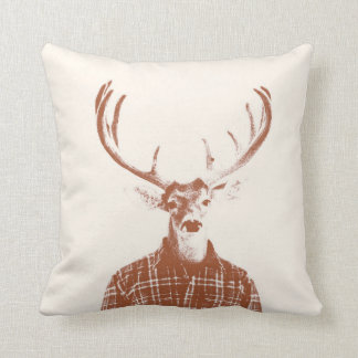 Rustic Man Buck with Antlers in Burnt Orange Cushion