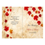 Rustic maple leaves fall  bi fold Wedding program 21.5 Cm X 28 Cm Flyer