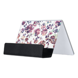 Rustic Marble Rose Pattern Desk Business Card Holder