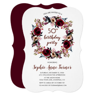 Rustic Marsala Floral Craft Paper Birthday Party Card