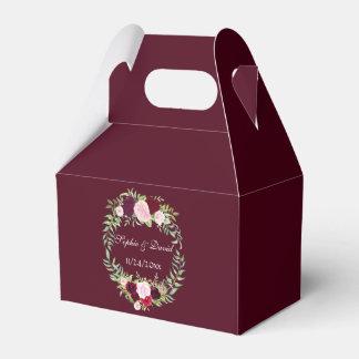 Rustic Marsala Floral Wreath Burgundy Wedding Favour Box