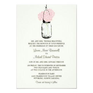 Rustic Mason Jar and Pink Hydrangeas Wedding 13 Cm X 18 Cm Invitation Card