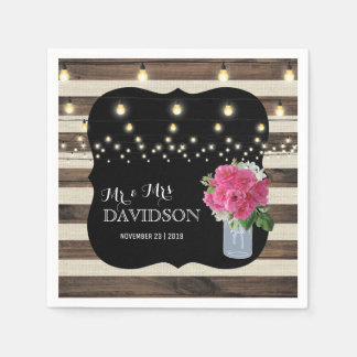 Rustic Mason Jar and Twinkle Lights Wedding Paper Napkin