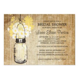 Rustic Mason Jar and Wildflower Daisies Card
