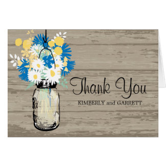 Rustic Mason Jar and Wildflowers Note Card