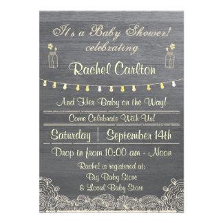 Rustic Mason Jar Baby Shower Invitation