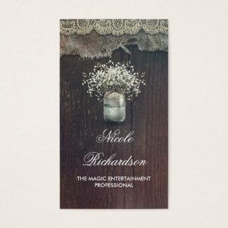 Rustic Mason Jar Baby's Breath and Barn Wood Business Card