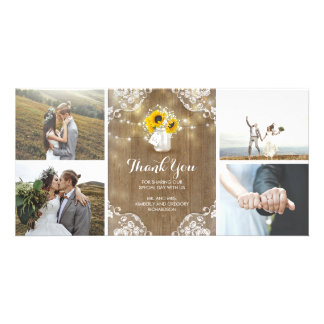 Rustic Mason Jar Baby's Breath and Sunflowers Lace Customised Photo Card