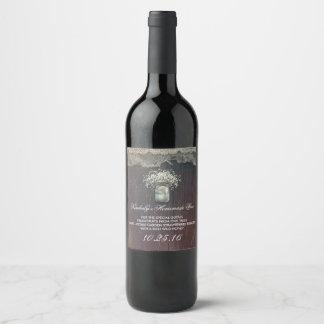 Rustic Mason Jar Baby's Breath Barn Wedding Wine Label