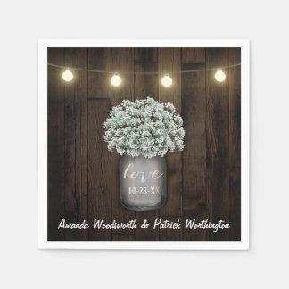 Rustic Mason Jar + Baby's Breath Wedding Napkins Disposable Serviettes