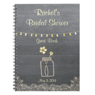 Rustic Mason Jar Bridal Shower Notebook