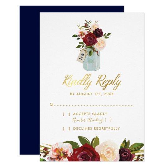 Rustic Mason Jar Burgundy Navy Gold Wedding RSVP Card