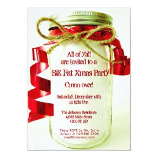 "Rustic Mason Jar Christmas Party Invitations 4.5"" X 6.25"" Invitation Card"