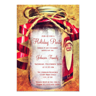 Rustic Mason Jar Christmas Party Invitations
