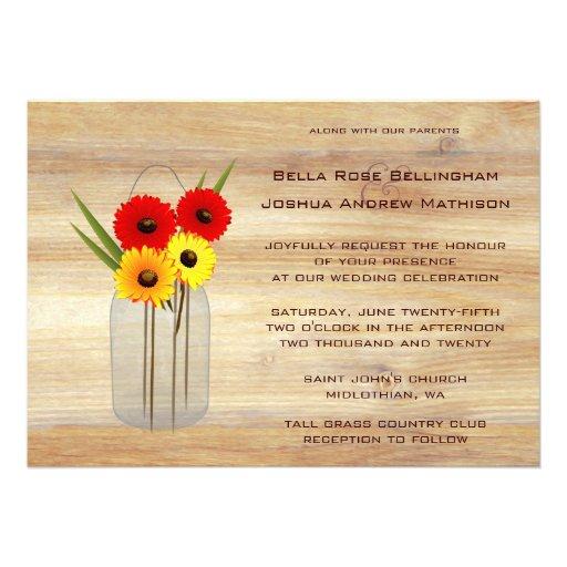 Rustic Mason Jar Daisies Wedding Invitation