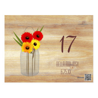 Rustic Mason Jar Daisies Wedding Table Card Post Cards