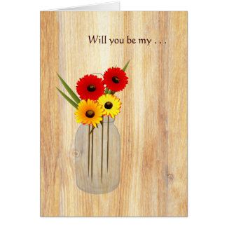 Rustic Mason Jar Daisies Will You Be My Note Card