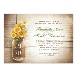 rustic mason jar engagement party invitations