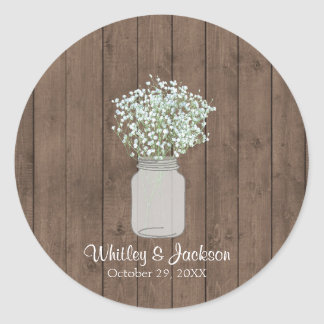 Rustic Mason Jar Envelope Seals, Wedding Favor Classic Round Sticker