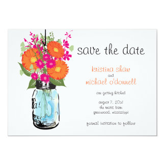 Rustic Mason Jar Gerber Daisies Save the Date Personalized Announcements