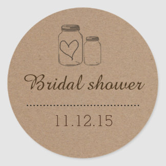 Rustic Mason Jar| Heart Bridal Shower Classic Round Sticker