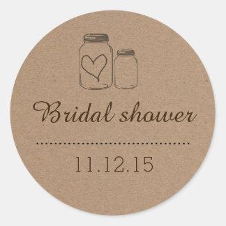 Rustic Mason Jar  Heart Bridal Shower Round Sticker