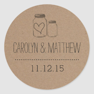 Rustic Mason Jar| Heart Wedding Favor Sticker