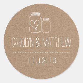 Rustic Mason Jar| Heart Wedding Favor Sticker2 Round Sticker