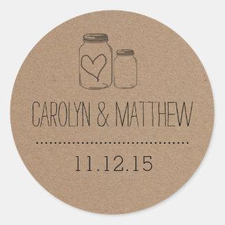 Rustic Mason Jar| Heart Wedding Favour Sticker